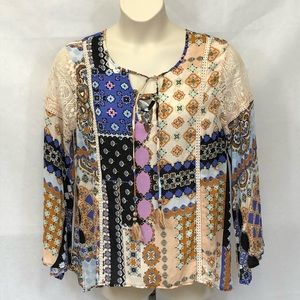 Democracy multi colored and print tunic top